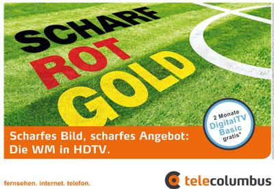 Telecolumbus Werbekampagne HDTV Scharf - Rot - Gold