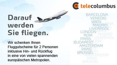 Telecolumbus Aktion mit Fluggutschein - für Telefon + Internet Kombitarife
