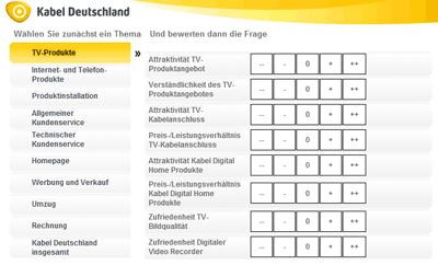 Kabel Deutschland Umfrage zur Kundenzufriedenheit