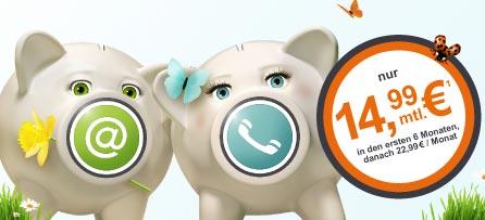 Telecolumbus Aktion 2er Kombi Aktion: Doppelflat ab 14,99 Euro