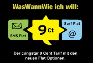 congstar TV Spot zum 9 Cent Tarif mit optional SMS + Internet Flat