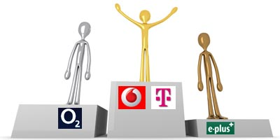 Stiftung Warentest Noten: Vodafone (2,4) / Telekom (2,4) / O2 (2,6) / E-Plus (3,2)