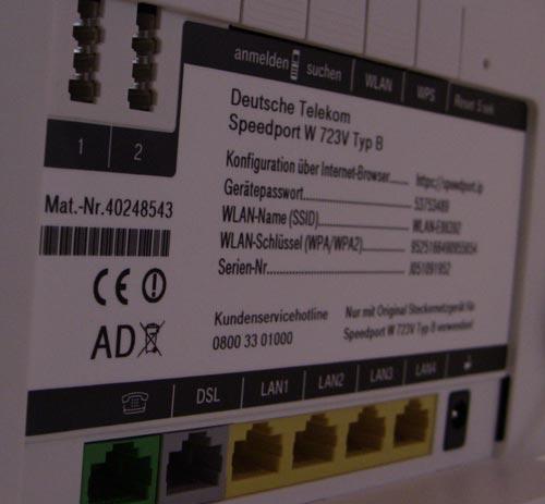 Telekom Speedport W723V - Anschlüsse am WLAN Router der Telekom