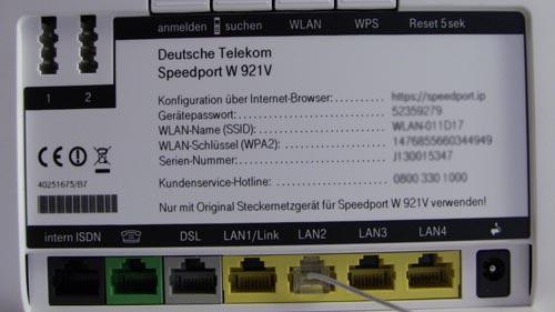 Telekom Speedport W921V - Ansicht von hinten mit allen Anschlüssen