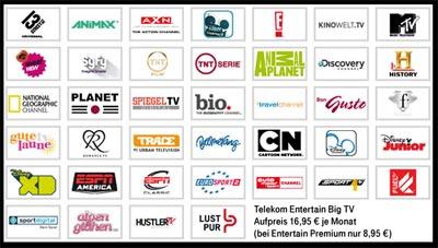 Telekom Entertain Aktion für BIG-TV Paket: 1 Monat ohne Aufpreis