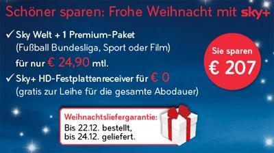 """Neue Sky Aktion """"Schöner sparen: Frohe Weihnachten mit Sky+"""""""