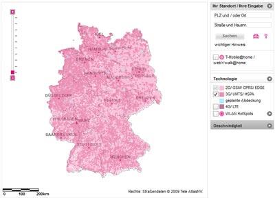 Telekom Netzabdeckung / Verfügbarkeit Mobilfunk: LTE, HSPA (HSDPA / HSUPA), UMTS, EDGE, GPRS
