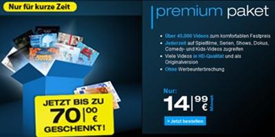 maxdome schenkt Premium Paket Neukunden 12 Blockbuster / Filme
