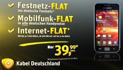 Kabel Deutschland Werbung Mobilfunk mit Samsung Galaxy S Plus