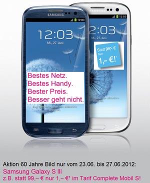 60 Jahre Bild: Telekom Aktion Samsung Galaxy SIII für nur 1 Euro