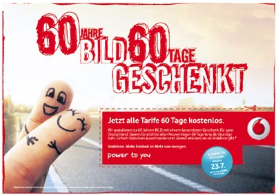 Bild Aktion für Vodafone Tarife (Festnetz & Mobilfunk): 60 Tage gratis