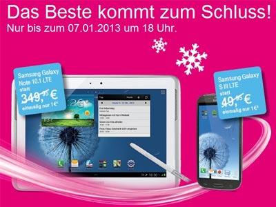 Samsung Galaxy Note 10.1 LTE, SIII LTE, SIII min bei Telekom ab 1 €