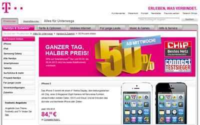 Telekom mit 50 Prozent Rabatt Aktion auf Smartphones / Handys