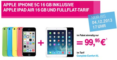 Telekom Aktion: iPad Air geschenkt zum Apple iPhone 5C mit Vertrag